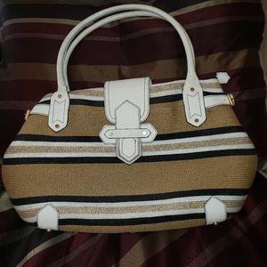 Eric Javits Large Striped Shoulder Bag-Used